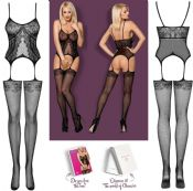 Obsessive Lingerie [ UK 6 - 12 ] Black F224 'Sensual' Bodystocking (E29767)